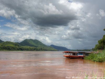 Storm clouds over the Mekong River in Luang Prabang, Laos