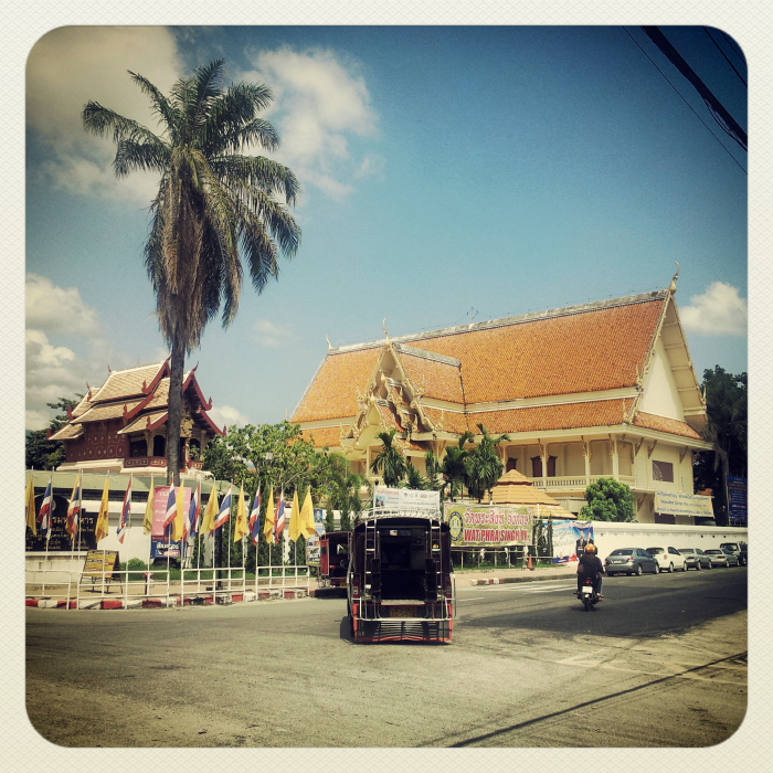 A tuk tuk on the street in Chiang Mai, Thailand