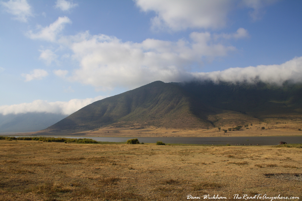 View of a lake and mountains in Ngorongoro Crater, Tanzania