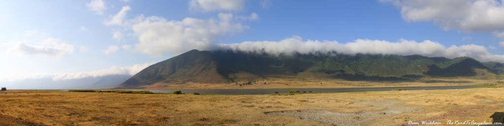 Panoramic view of a lake and mountains in Ngorongoro Crater, Tanzania