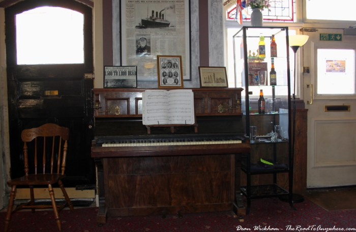 Old piano in the Titanic pub in Southampton, England