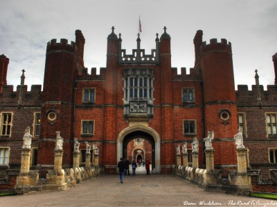 Gatehouse entrance to Hampton Court Palace in England