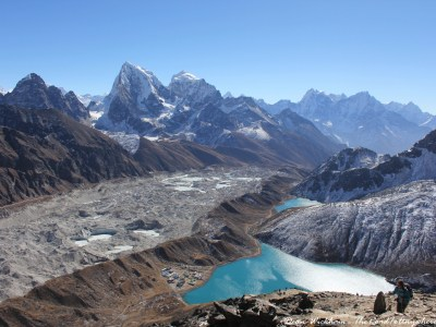Glacier, mountain and lake view from Gokyo Ri, Nepal