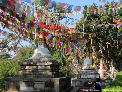 Stupas and prayer flags at Swayambunath (Monkey Temple) in Kathmandu, Nepal
