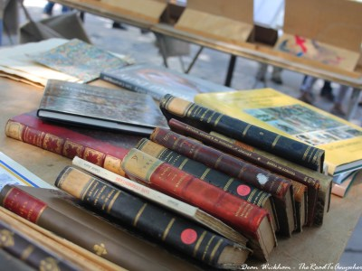 Old books at Porte de Vanves Flea Market in Paris
