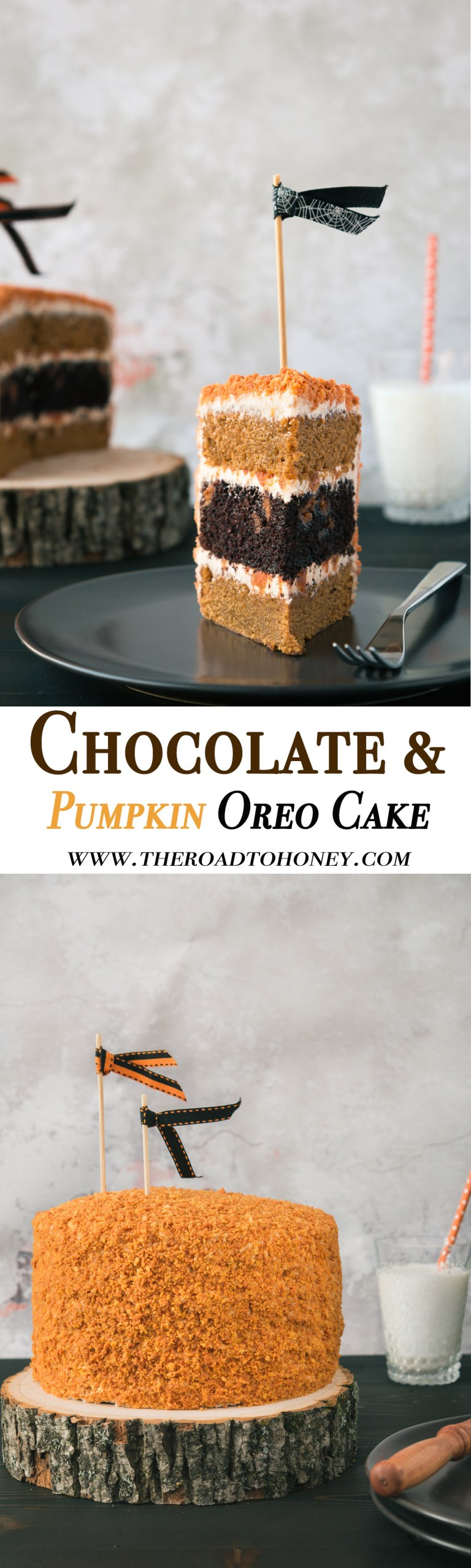 Chocolate & Pumpkin Oreo Cake with Brown Butter Cream Cheese Frosting - Celebrate fall & the holidays with this super moist Chocolate & Pumpkin Layer Oreo Cake covered in a dreamy Brown Butter & Cinnamon Cream Cheese Frosting, they coated in a layer of cookie crumbs. #OreoDessert #OreoCake #PumpkinDesserts #LayerCake