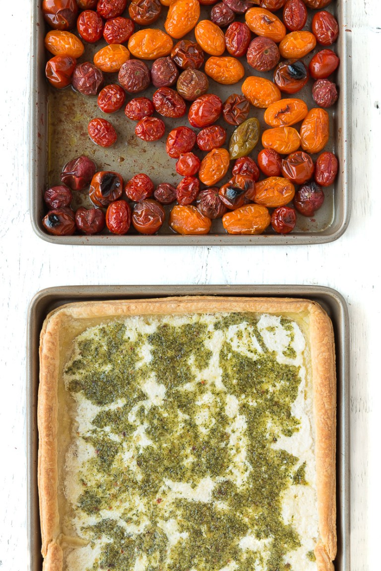 Puff Pastry Tomato Tart with Macadamia Nut Pesto - Roasted heirloom tomatoes, creamy cheese and fresh herbs fill this flaky puff pastry tart, making it a rustically elegant addition to any brunch, lunch or dinner.