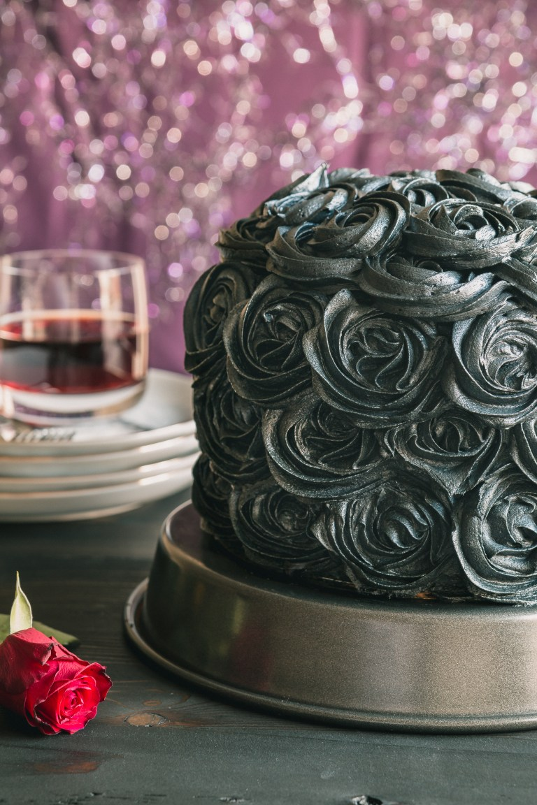 Black Cocoa & Raspberry Cream Layer Cake - This elegant cake starts with wickedly moist layers of chocolate cake topped with indulgent raspberry bavarian cream and topped with a rich black cocoa buttercream frosting. Perfect for black tie affairs, retirement parties or any time you want to add a little elegance into your life. Click for RECIPE.