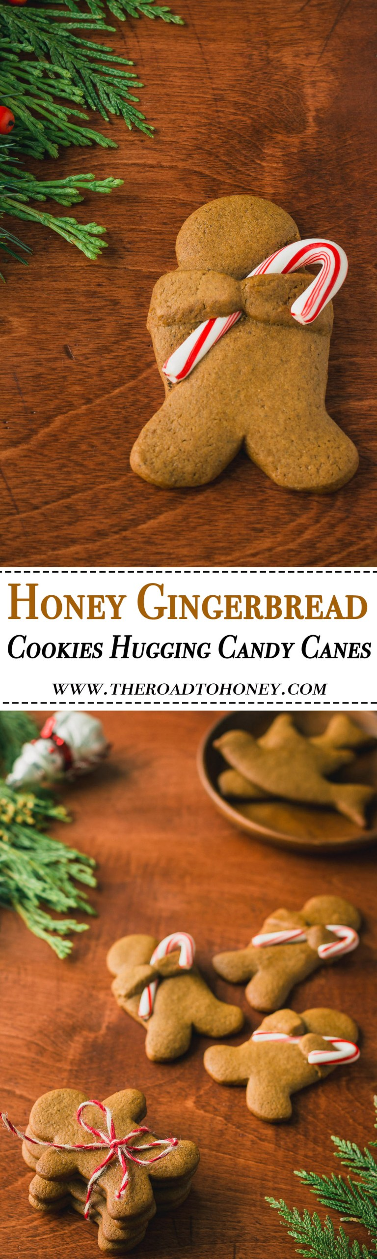 Honey Gingerbread Men Cookies Hugging Candy Canes - Nothing says Christmas & the holidays more than the warm, spicy notes of gingerbread.These gingerbread cookies are made all the more special with a touch of honey & a drizzle of lemon icing. And for a cute spin on your little gingerbread dudes, wrap their arms around miniature candy canes or string a few up on a ribbon & use as a festive holiday garland.#Gingerbread #EdibleGifts #ChristmasCookies #HolidayCookies #Cookies #Recipe