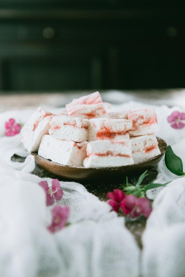 Homemade Strawberry Amaretto Marshmallows