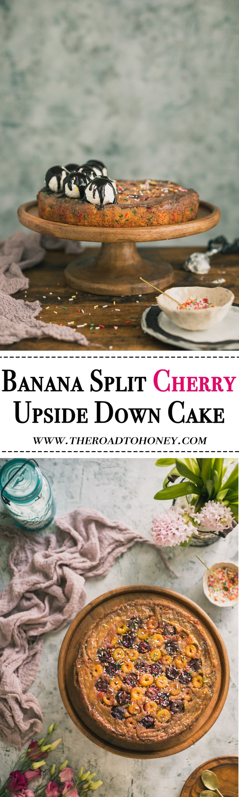This Banana Split Cherry Upside Down Cake is an incredibly moist funfetti cake topped with fresh cherries, creamy bananas & a thick layer of caramel. Click for RECIPE.
