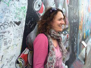 Jo at the Berlin Wall