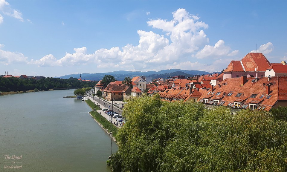Looking over the old part of Maribor and the River Drava