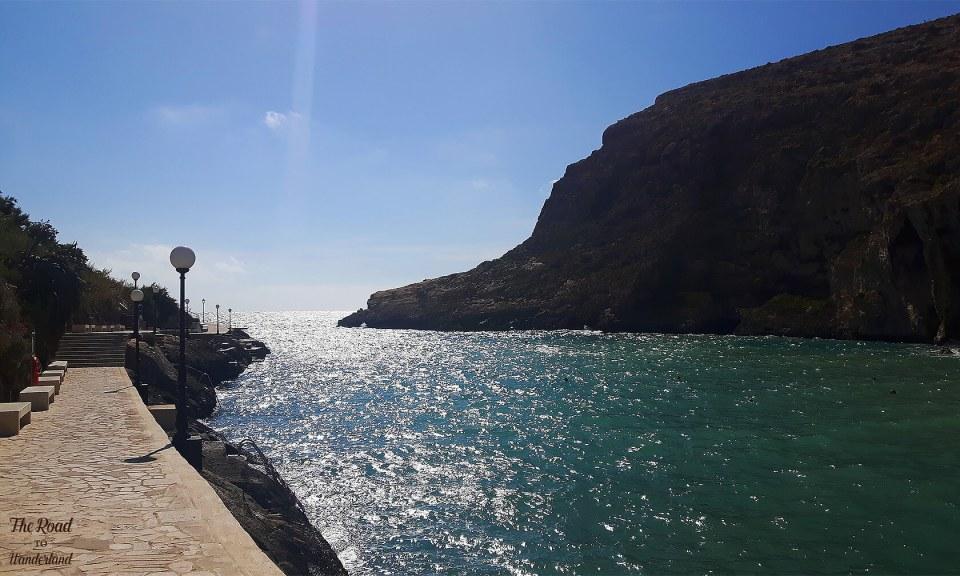 The walkway along Xlendi Bay