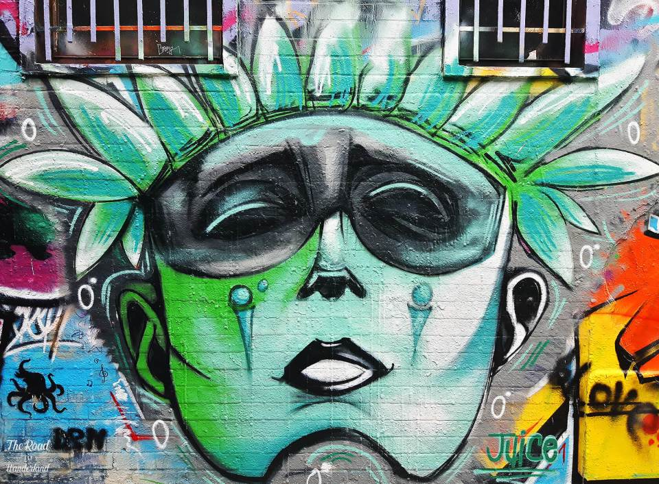 Stunning face on Graffiti Street, Ghent
