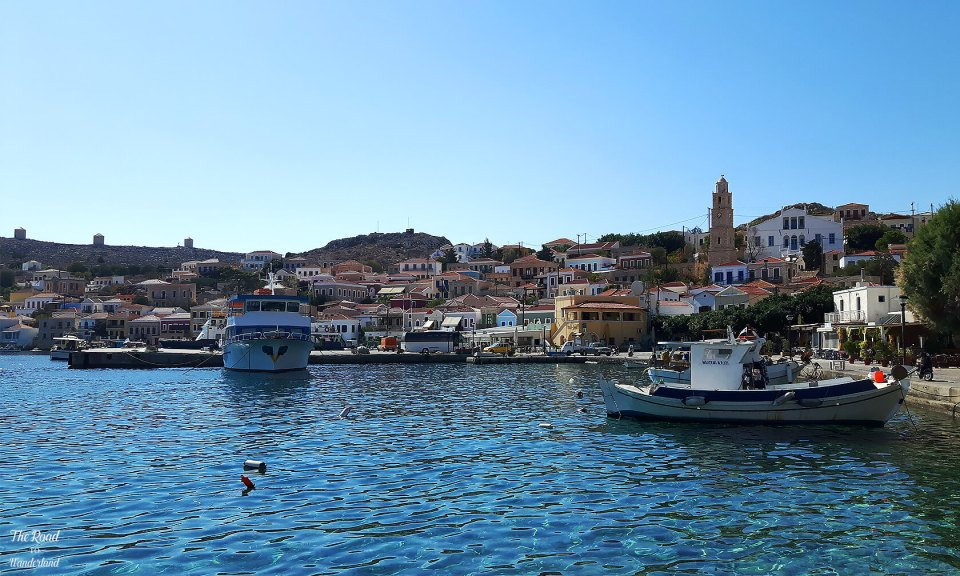 Halki harbour with the three windmills in the distance