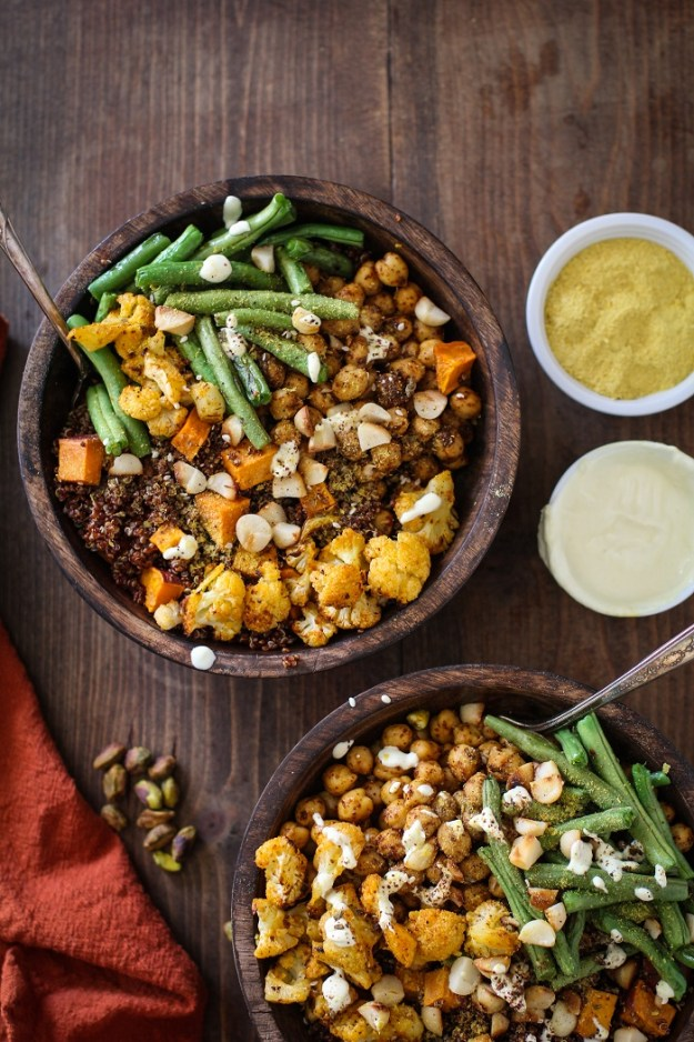 Roasted Vegetable Quinoa Bowls with Toasted Macadamia Nuts and Cashew Cream Sauce | TheRoastedRoot.net #healthy #vegetarian #vegan #glutenfree #recipe #paleo