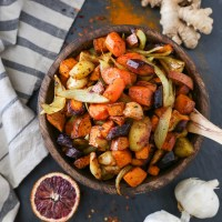 Orange Ginger Turmeric Roasted Root Vegetables