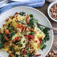 Roasted Garlic and Kale Spaghetti Squash with Sun-Dried Tomatoes (+Video!)