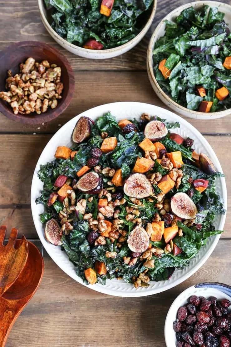 Roasted Sweet Potato and Fig Kale Salad with Maple-Cinnamon