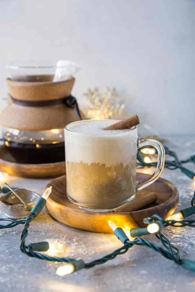 Paleo Eggnog Latte - dairy-free, refined sugar-free, vegan, and delicious! | TheRoastedRoot.com