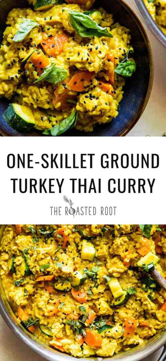 One-Skillet Ground Turkey Thai Curry with rice - an easy, quick approach to curry! | TheRoastedRoot.net #glutenfree #healthy
