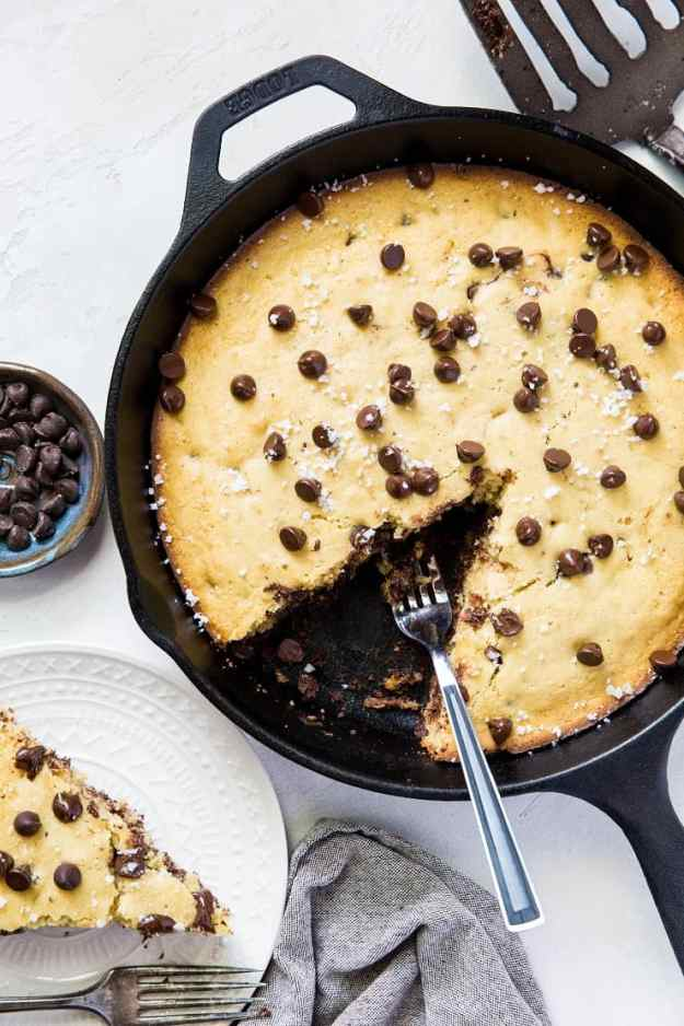 Paleo Chocolate Chip Coconut Flour Skillet Cookie - grain-free, refined sugar-free | TheRoastedRoot.net