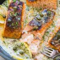 Crispy Skillet Salmon with Lemon Caper Dill Sauce