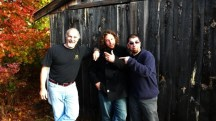 """Josh Robbins and Todd the Rocket with """"Echoes"""" host John DiLiberto outside Sumner McKane's Wiscasset studio"""