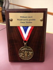 Omar Medina, medal, plaque, support, thank you, trophy, award, track and field