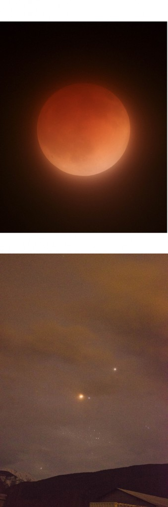 Top: a view of last month's Blood Moon. In full eclipse, the earth comes between the sun and moon, and light reflected off the earth's atmosphere causes the moon to appear red. Below Matthew Wheeler caught Mars, the totally eclipsed moon, Spica and the glow from McBride lights.