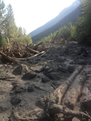West Canoe FSR was blocked by a mudslide in August.