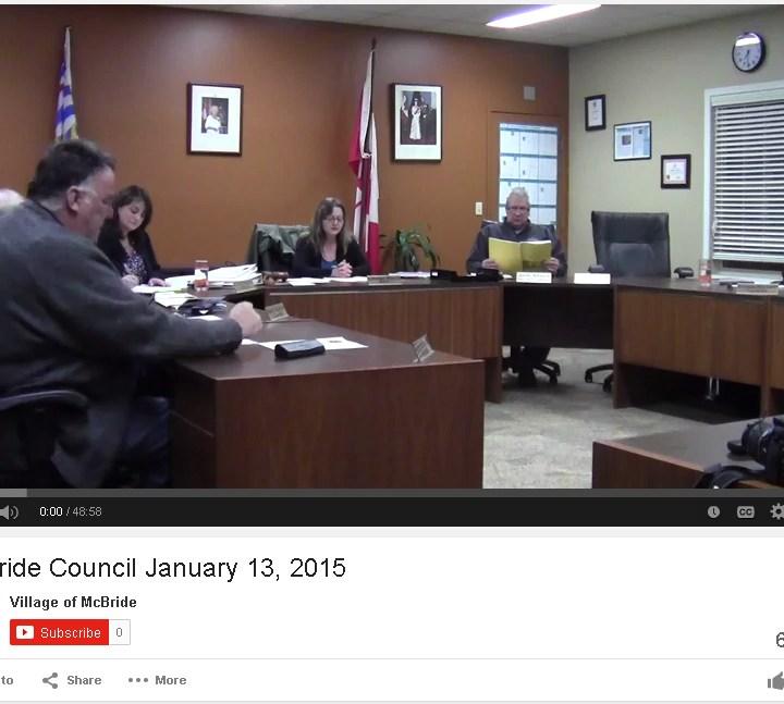 McBride Council meetings now online