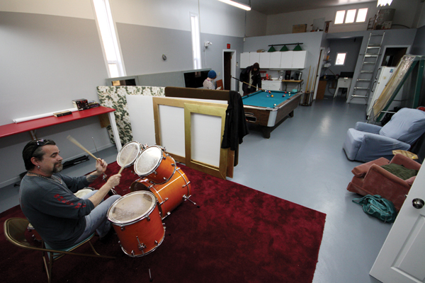 Sparks has brought his drum set to the centre and hopes to give music lessons.