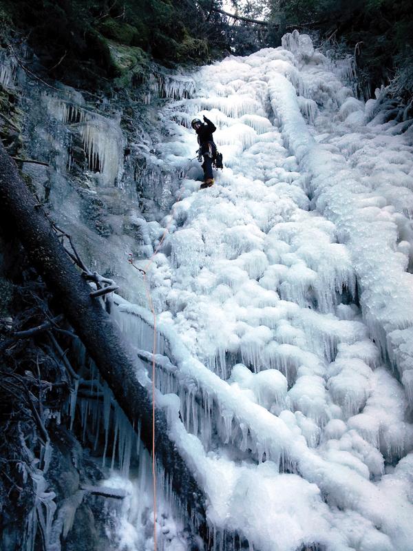 Ancient waterfall ice climb