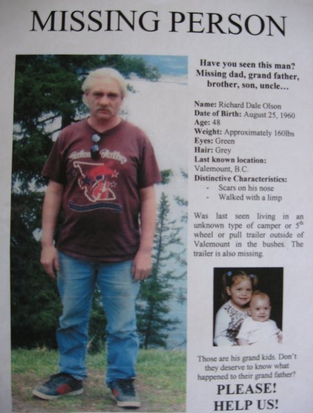 Duska Olson put up posters from Edmonton to Valemount after her father Richard went missing in 2007
