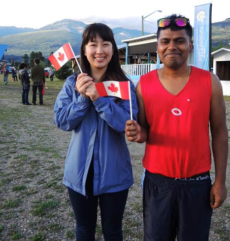 Naho from Japan and Yogi from India took in celebrations at the Valemount sportsplex