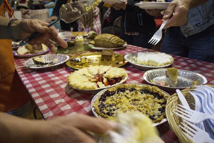 A spread of desserts and treats fill the Dunster Community Hall. For $8, an adult receives all you can eat! Make sure to skip dinner on this night.