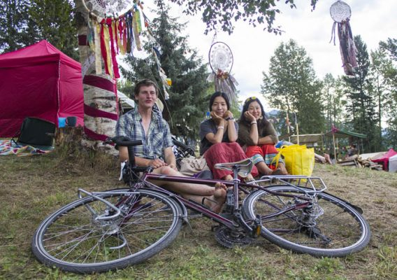 Photo: Evan Matthews — Sean Heaks, Rico Naito and Mariko Tsujimoto say biking is key to and from the campsite.