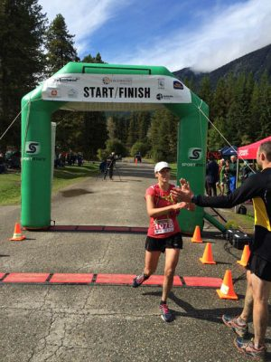 Photo: Bob Hoskins Michelle Katchur Robers is the first woman to finish the Ultra this year, posting a time of 04:49:25.