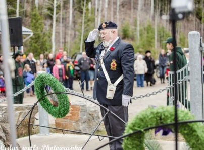 Photo: Bob Hoskins Pete Pearson, leader of Valemount's Legion (266), stands at attention during the Nov. 11 Remembrance Day service. Pearson attended VSS' service a day earlier.