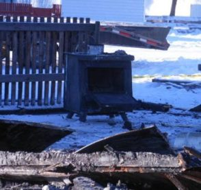 Photo: Supplied by Darren Meek The wood stove, seen here, is thought to be the cause of the fire, according to the B.C. Fire Commission.