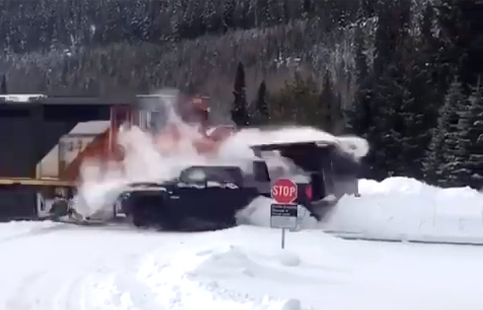 Valemount train-truck collision caught on film