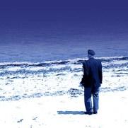 Veteran on Juno Beach • Original Photo by Julia Mackey • Graphic Design by Dirk Van Stralen