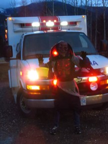 Daniel Roussel makes a stop at the Ambulance Station during his evening of trick-or-treating. /ARNOLD ANDREA