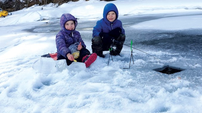 Rowan and Nash make the most of the last bit of winter weather to do a little ice fishing on the Fraser River.