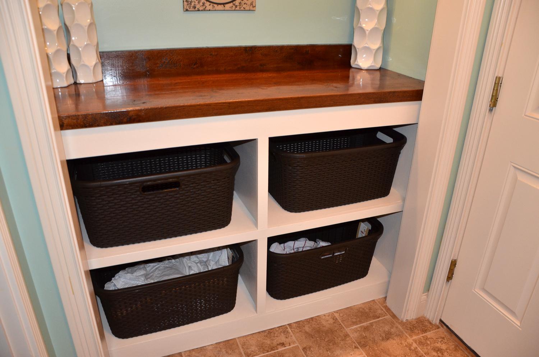 Laundry Room Closet Clothes Bin And Countertop Tutorial