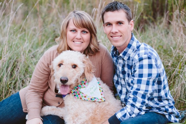 Unique Baby Announcement Photo with goldendoodle dog