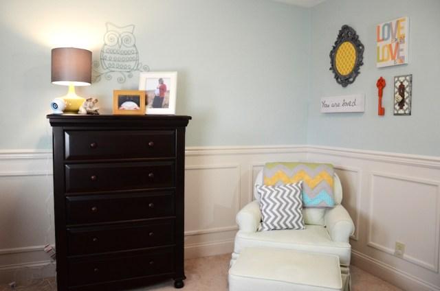 Modern Gender Neutral Baby Nursery Wall Decor Owl Mirror Rocking Chair