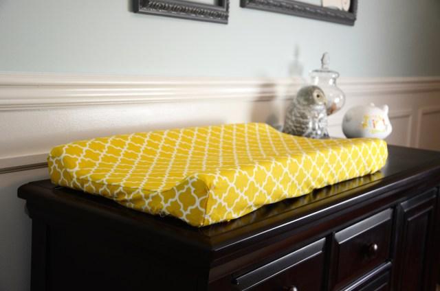 Modern Geometric Pattern Yellow Custom Baby Changing Pad